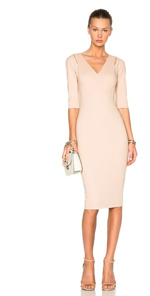 Victoria Beckham 3/4 sleeve cut out fitted dress in neutrals
