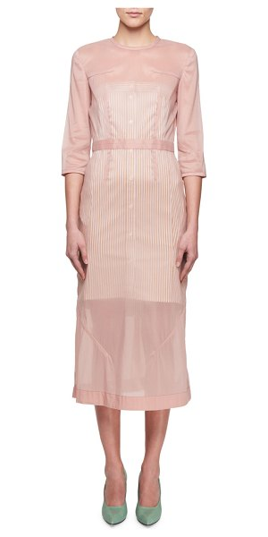 Victoria Beckham 3/4-Sleeve Stretch Organza A-Line Midi Dress in pink