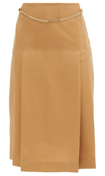 Victoria Beckham belted pleated wool high-rise skirt in camel
