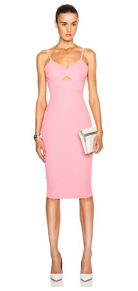 Victoria Beckham Cami cut out fitted dress in pink - Self: 50% silk 50% wool - Lining: 100% cotton - Contrast...