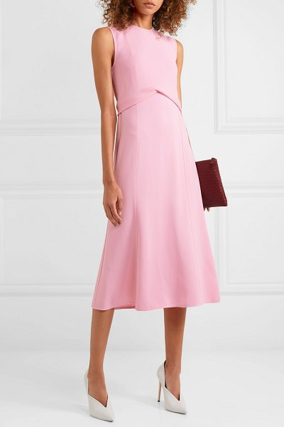 Victoria Beckham draped georgette midi dress in baby pink