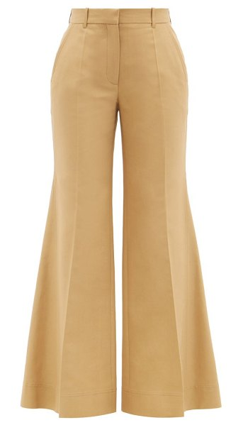 Victoria Beckham high-rise cotton-blend canvas flared trousers in brown