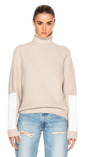 Victoria Beckham Lambswool Military Patch Sleeve Jumper in biscuit & white - Self: 100% woolContrast Fabric: 65% poly 35% cotton....