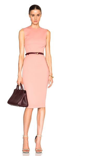 VICTORIA BECKHAM Microbrush Sleeveless Fitted Dress with Belt - Self: 52% cotton 43% poly 5% elastan - Lining: 100% silk...