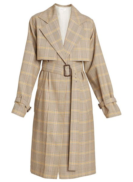 Victoria Beckham plaid wool trench coat in neutral