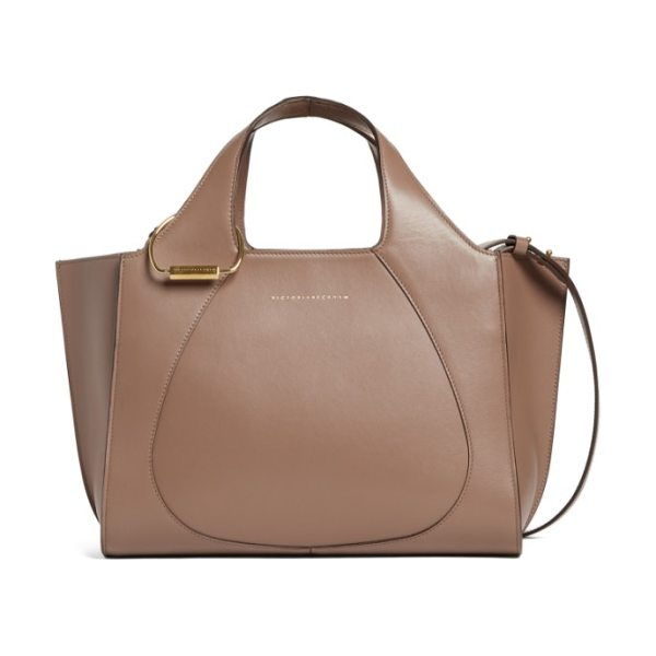 Victoria Beckham small newspaper leather tote in dove - This stylish structured tote crafted from smooth...