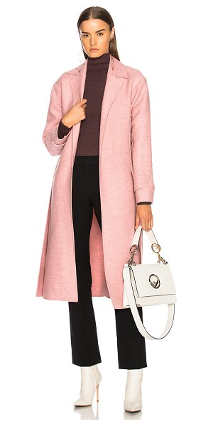 Victoria Beckham Soft Felt Side Panel Slim Coat in pink - Self: 100% virgin wool - Lining 1: 65% poly 35% cotton -...