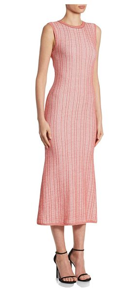 Victoria Beckham striped crewneck midi dress in red candy