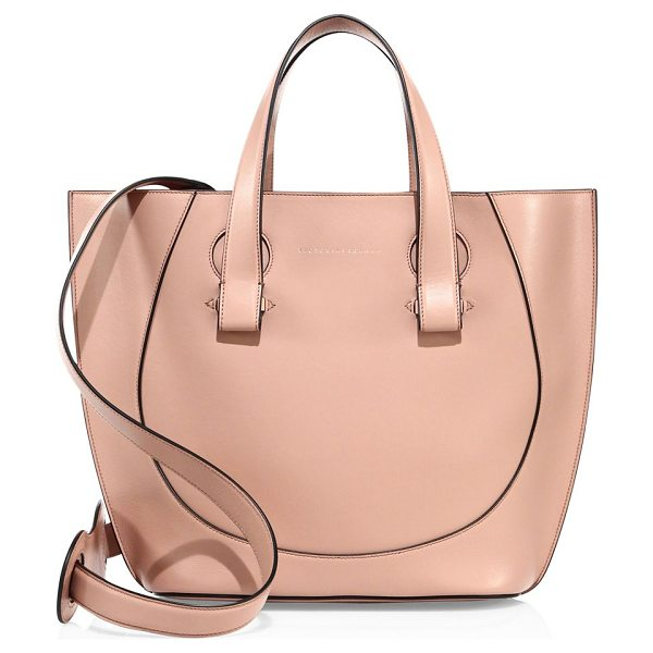 Victoria Beckham tulip small leather tote in dark nude - Smooth leather tote with gently curved tulip shape....