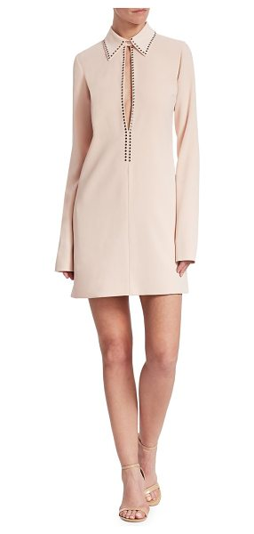 Victoria by Victoria Beckham open front shift dress in pearl - Victoria Beckham's long sleeve dress in neutral pearl...