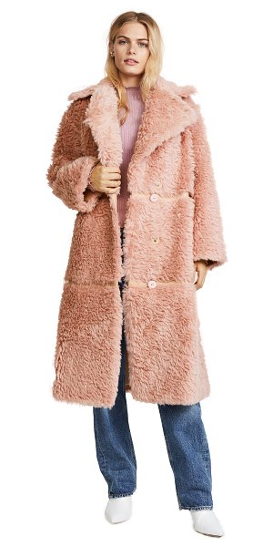 VIKA GAZINSKAYA oversized faux fur coat in pink - This faux-fur Vika Gazinskaya overcoat is composed of...