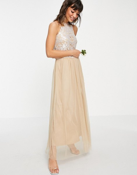 Vila bridal halterneck dress with sequin body and tulle skirt in champagne-gold in gold