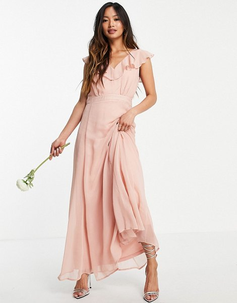 Vila bridesmaid maxi dress with frill detail in pink in pink