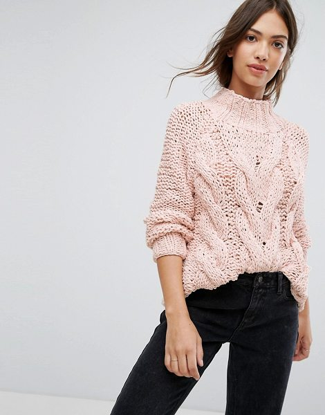 "Vila Cable Knit Sweater in pink - """"Sweater by Vila, Chunky cable knit, High neck, Fitted..."