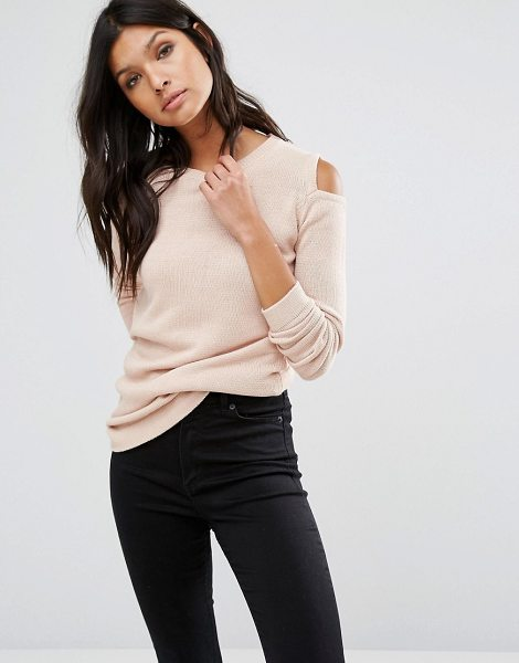 Vila Cold Shoulder Sweater in pink - Sweater by Vila, Fine knit, Crew neckline, Cold-shoulder...