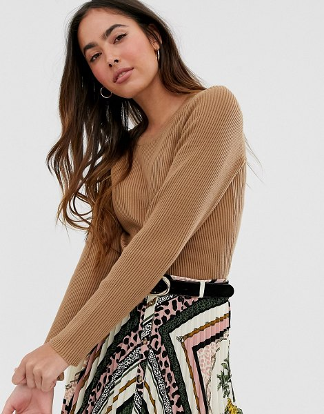 Vila crew neck short fitted knitted top-tan in tan