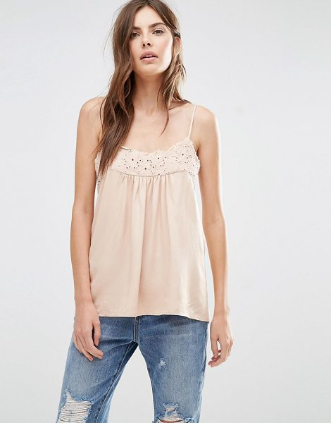 Vila Crochet Detail Cami Top in pink - Top by Vila, Lightweight woven fabric, Scoop neckline,...