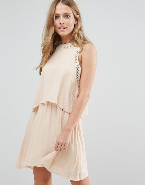 Vila Double Layered Sleeveless Dress in beige - Dress by Vila, Lined chiffon, High-cut neck, Cropped...