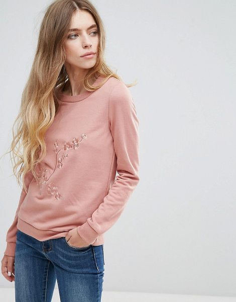 "Vila Embroidered Sweatshirt in pink - """"Sweatshirt by Vila, Soft-touch sweat, Embroidered..."