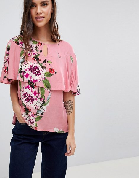 Vila floral ruffle woven top in bridalrose - Top by Vila, Floral design, Blooming lovely, Round neck...