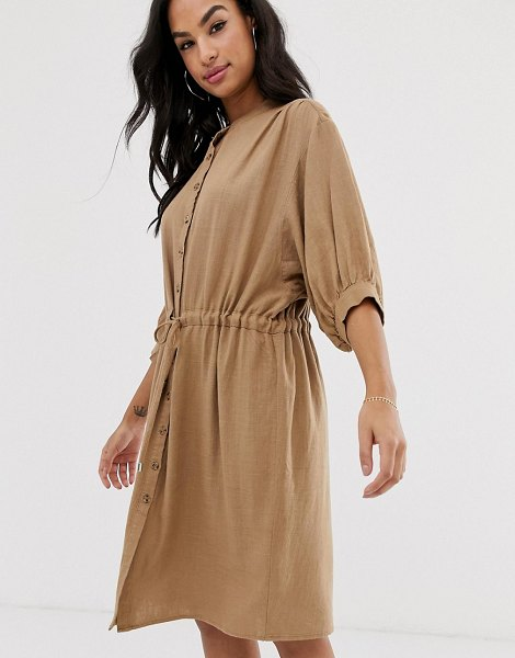 Vila gathered waist linen utility dress in dustycamel