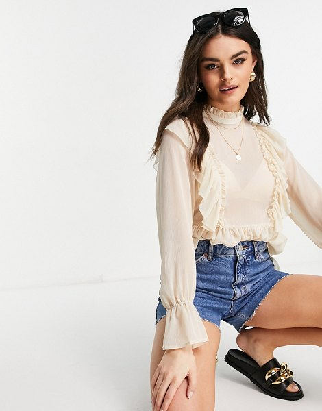 Vila high neck blouse with frill details and balloon sleeve in cream-neutral in neutral