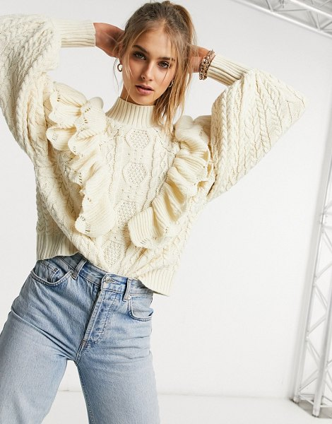 Vila high neck chunky knit sweater with frill detail and balloon sleeve in cream in cream