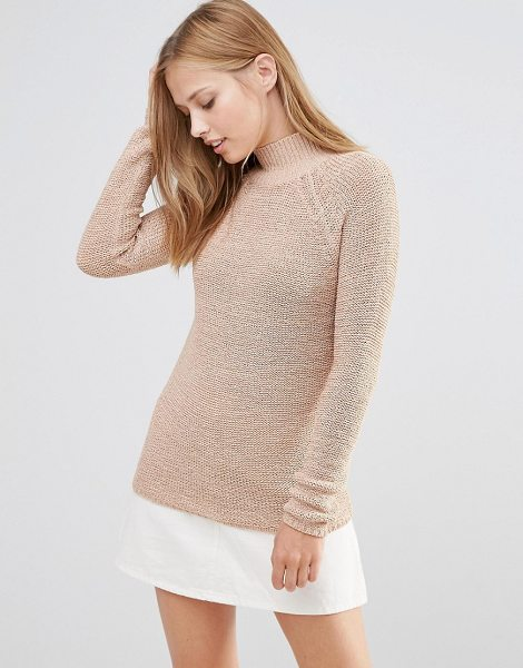 Vila High Neck Knit Sweater in Tan in tan - Sweater by Vila, Soft-touch chunky knit, High neckline,...