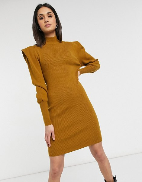 Vila high neck knitted dress with shoulder pads in mustard-brown in brown