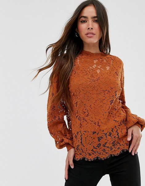 Vila high neck lace top-brown in brown