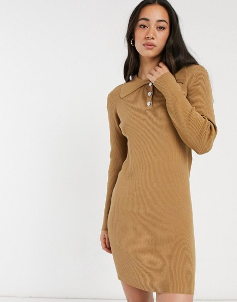 Vila knitted polo dress with button detail in tan-beige in beige