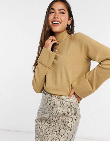 Vila knitted sweater with folded cuffs in brown in brown