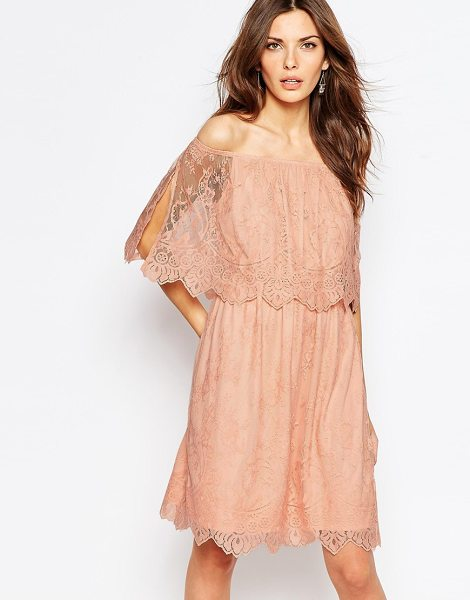Vila Lace Bardot Double Layer Dress in pink - Dress by Vila, Lined lace, Off-the shoulder neckline,...