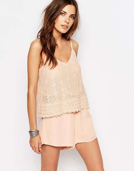 Vila Lace Double Layer Romper in pink - Romper by Vila, Lightweight woven fabric, Cropped lace...