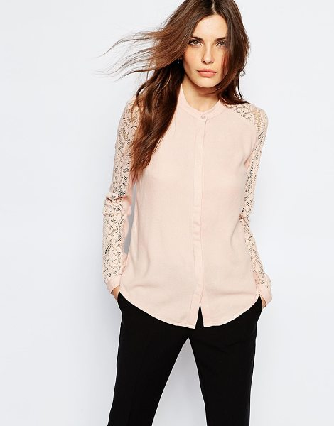 VILA Lace insert blouse - Blouse by Vila, Lightweight fabric, Sheer lace sleeves,...