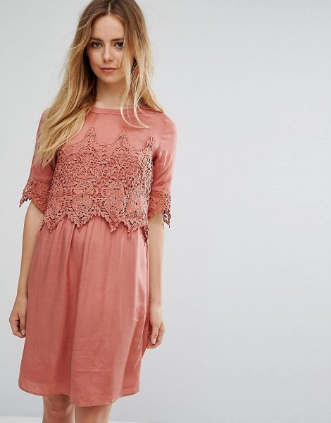 "Vila Lace Overlay Dress in pink - """"Casual dress by Vila, Lightweight fabric, Crew neck,..."