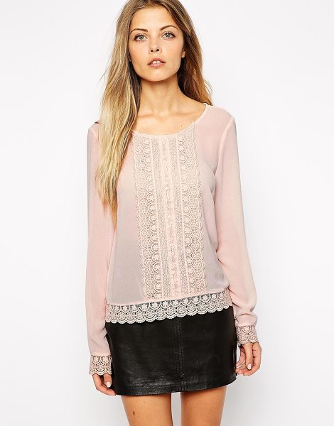 Vila Lace victoriana blouse in pink - Blouse by Vila Semi-sheer chiffon Scoop neckline Lace...