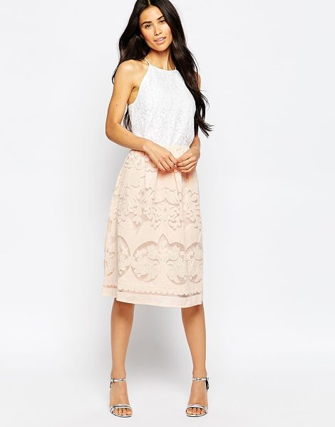 Vila Laser cut midi skirt in peach blush - Skirt by Vila Mid-weight woven fabric Lined design...