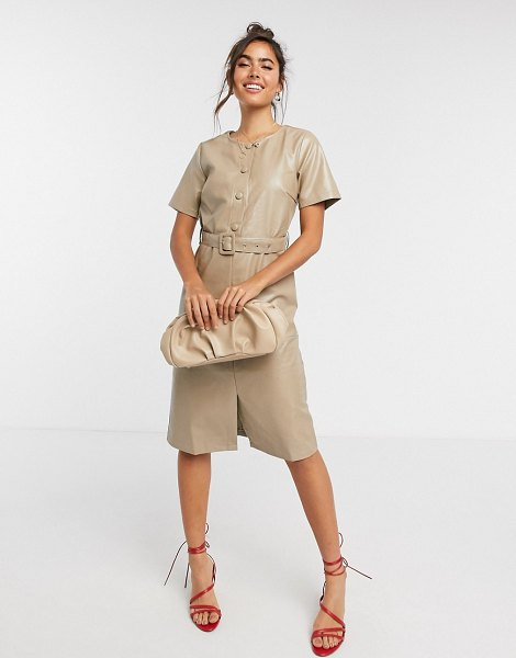 Vila leather-look midi dress with belt and button detail in beige in beige