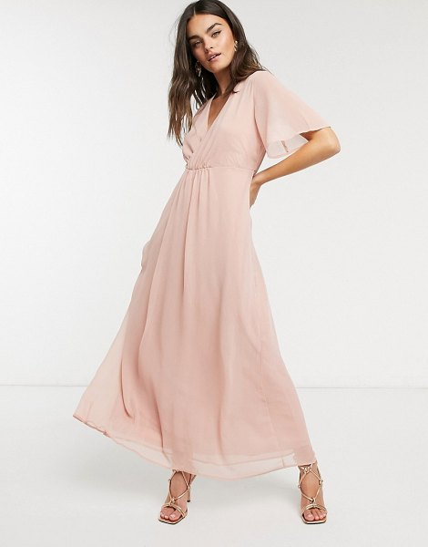 Vila maxi dress with gathered wrap front and flutter sleeves in pink in pink