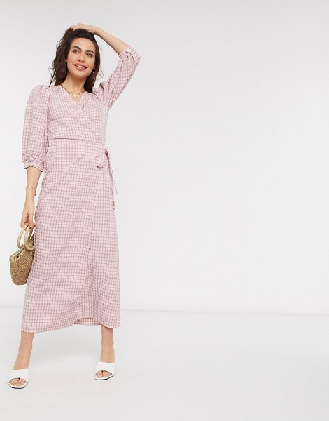Vila maxi wrap dress in pink check in pink