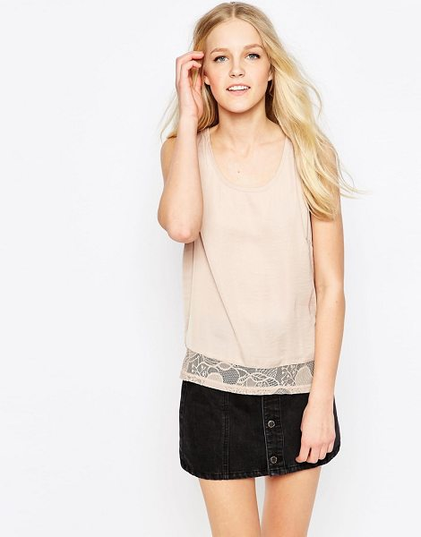 Vila Mella Lace Trim Sleeveless Top in brown - Top by Vila, Smooth woven fabric, Scoop neckline, Lace...