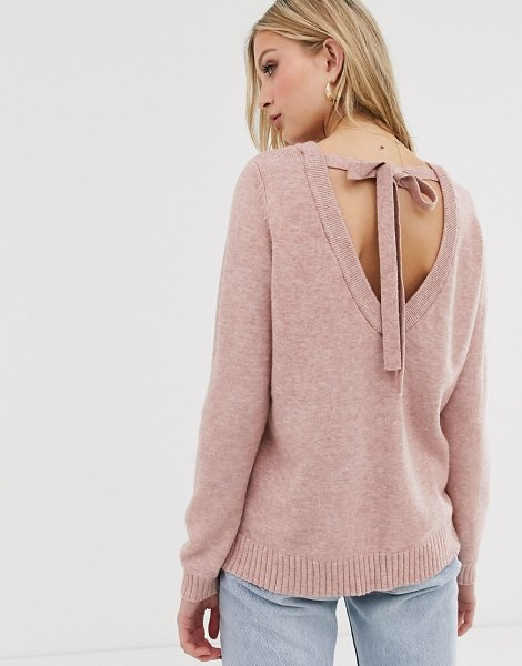 Vila open back knitted sweater-pink in pink