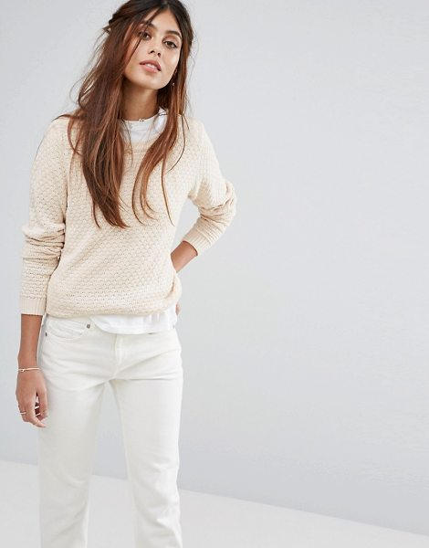Vila Open Knit Sweater in beige - Sweater by Vila, Woven knit, Scoop neck, Ribbed trims,...