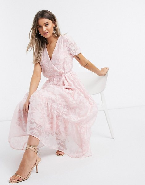 Vila organza maxi dress with puff sleeves in pink floral in pink