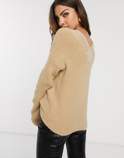 Vila oversized sweater with lace back detail-neutral in neutral