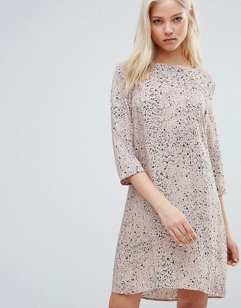 Vila Printed Wrap Over Dress in pink
