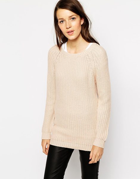 Vila Raglan knit sweater in lightpink - Sweater by Vila 50% Acrylic, 50% Cotton Textured knit...