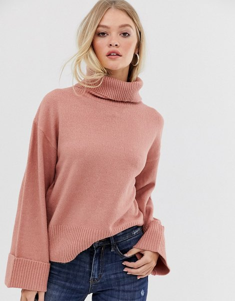 Vila roll neck sweater with wide cuff-pink in pink