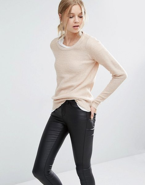 Vila Round Neck Sweater in pink - Sweater by Vila, Ribbed knit, Round neckline, Long...
